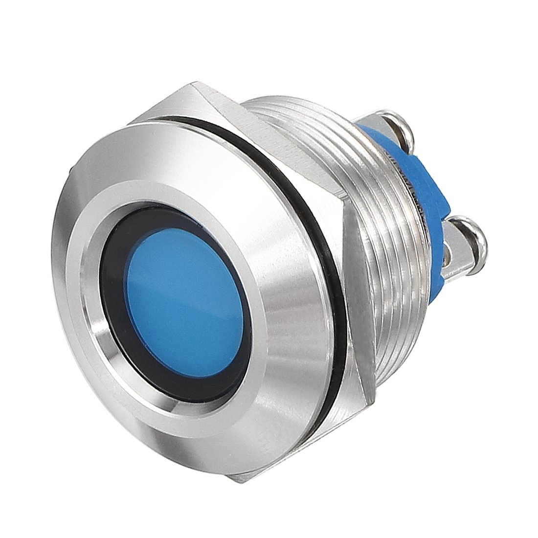uxcell LED Indicator Light 12V 12mm Blue Metal Shell Pilot Custom Dash Signal Lamp Concave Head