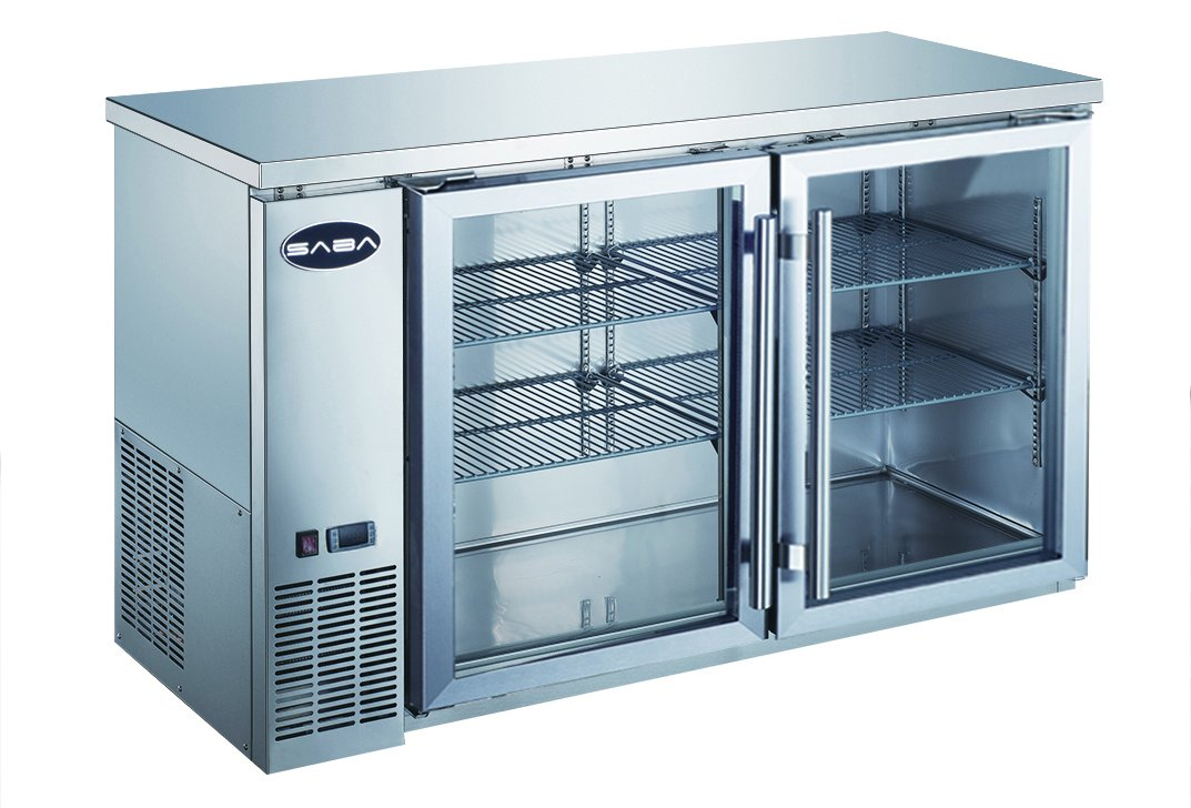 UBB-24-60GS 60'' Narrow Glass Door Stainless Steel Back Bar Cooler with LED Lighting