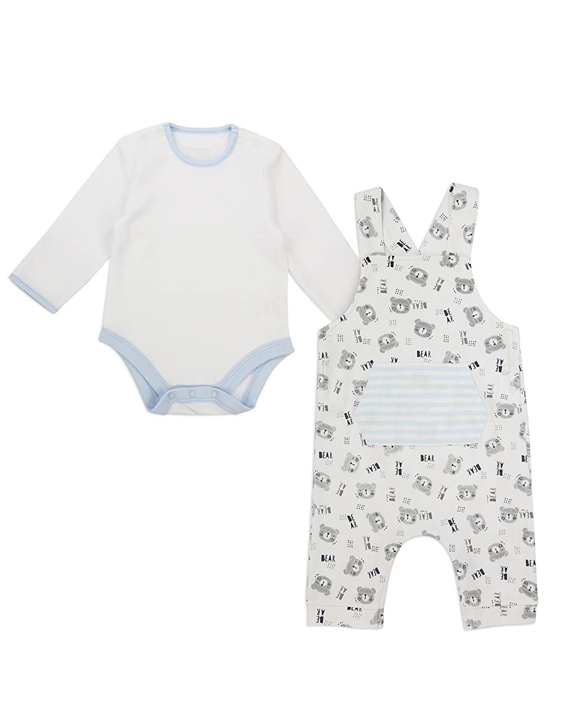 The Essential One Baby Boys Tiny Bear Dungaree and Body Set - White/Blue - TESS16