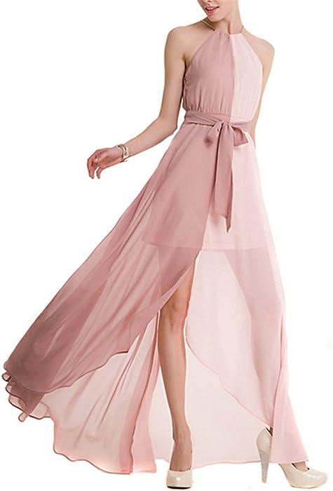 dc9b363eac4b Melissa 2018 New Summer Women Dress Goddess Hanging Neck Collar Chiffon  Ladies Pink Long Dress Vestidos