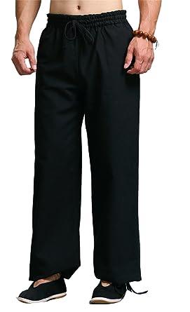 6f3034f3a5d Men s Casual Loose Linen Cotton Yoga Drawstring Wide Leg Pants Black M