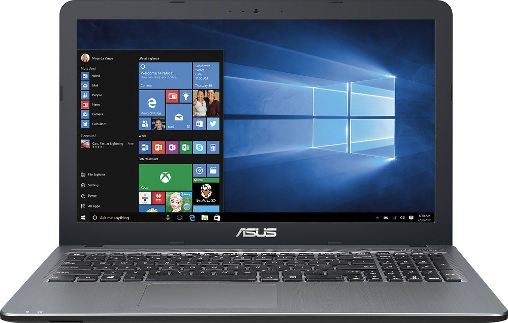 ASUS 15.6 High Performance Premium HD Laptop (Intel Quad Core Pentium N3700 Processor up to 2.4 GHz, 4GB RAM, 500GB HDD, SuperMulti DVD, Wifi, HDMI, VGA, Webcam, Windows 10-silver)