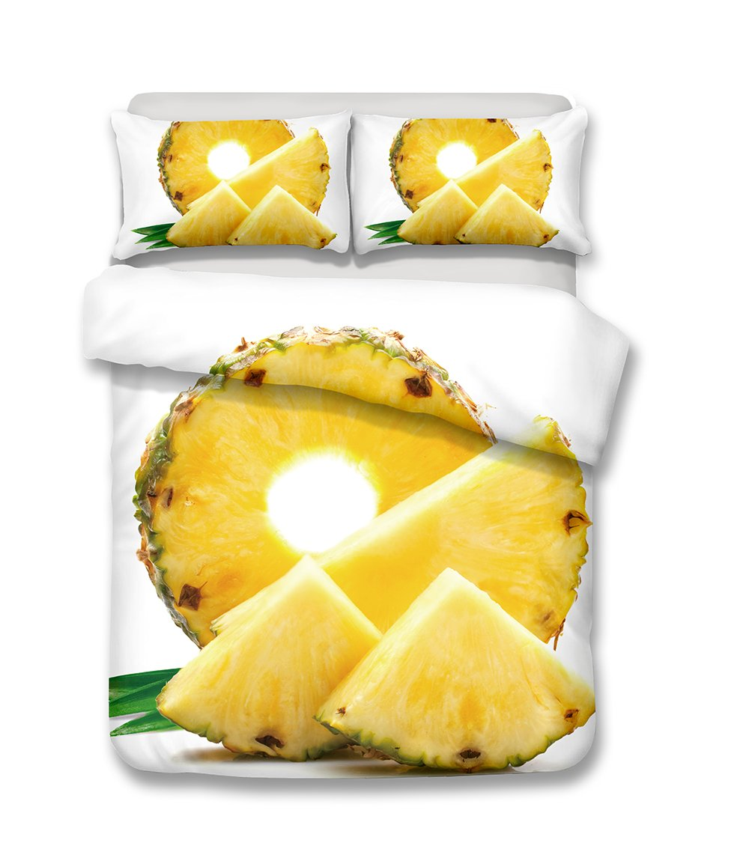 Helengili 3D Digital Printing Bedding Set Pineapple Ananas Bedding Bedclothes Duvet Cover Sets Bedlinen 100 Percent Microfiber Present , California King