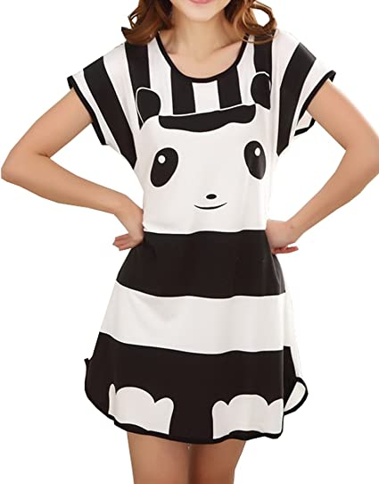d54ca469f9 Image Unavailable. Image not available for. Color  Vopmocld Big Girls   Lovely Panda Sleepwears Nightgown Silky Summer Sleep Shirts