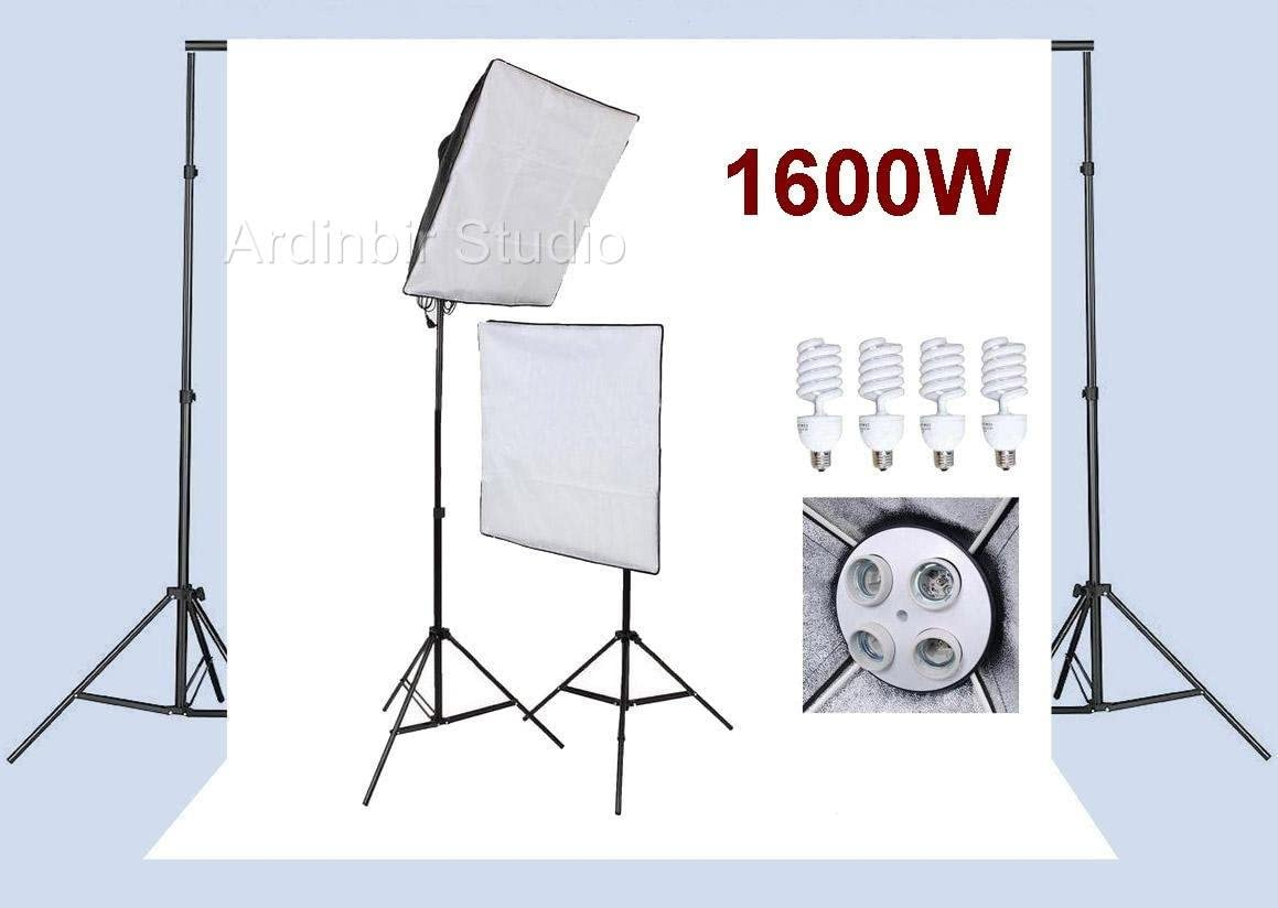 Ardinbir Studio Photo 1600w Continuous Light Softbox Lighting Kit and Background Backdrop Support System