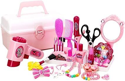 Girls Hairdresser Role Play Set Kids Hair Dryer Stylist Hard Carry Case Toys