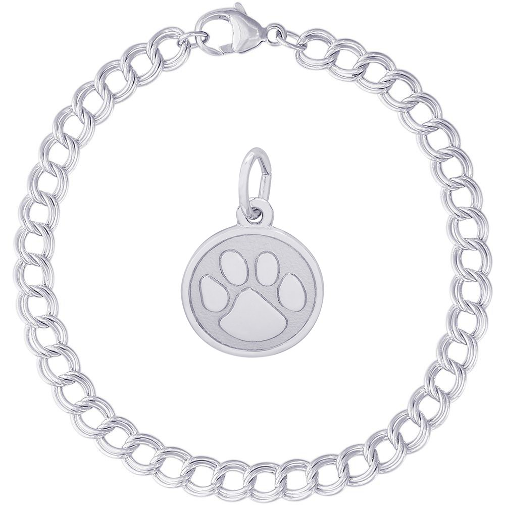 Rembrandt Charms Sterling Silver Paw Print Accent Charm on a Double Link Bracelet, 7''
