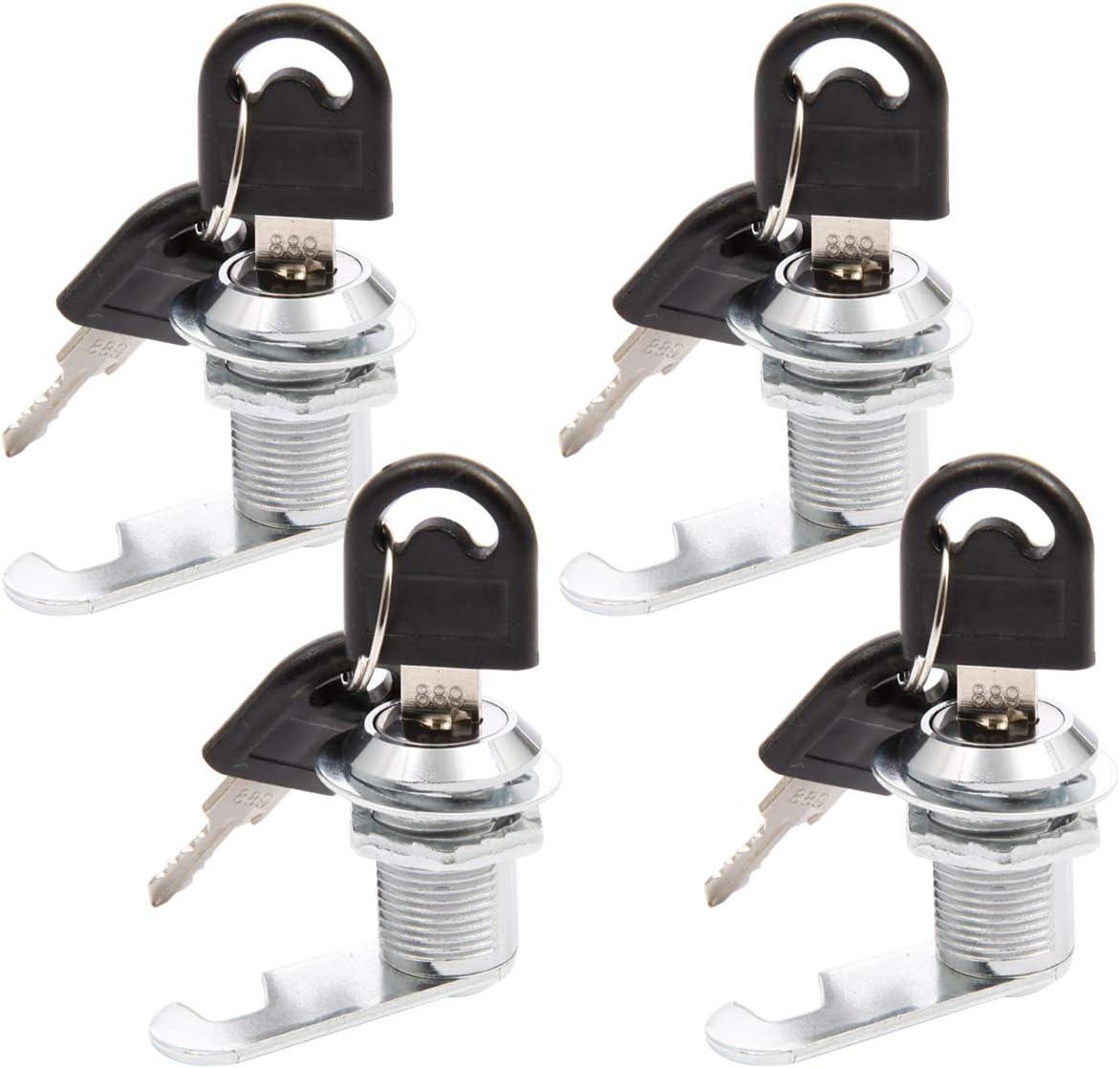ToPicks Lot de 4 verrous de placard bo/îte aux lettres pour bo/îte aux lettres serrure /à came armoire avec 8 cl/és tiroir serrure de porte de placard