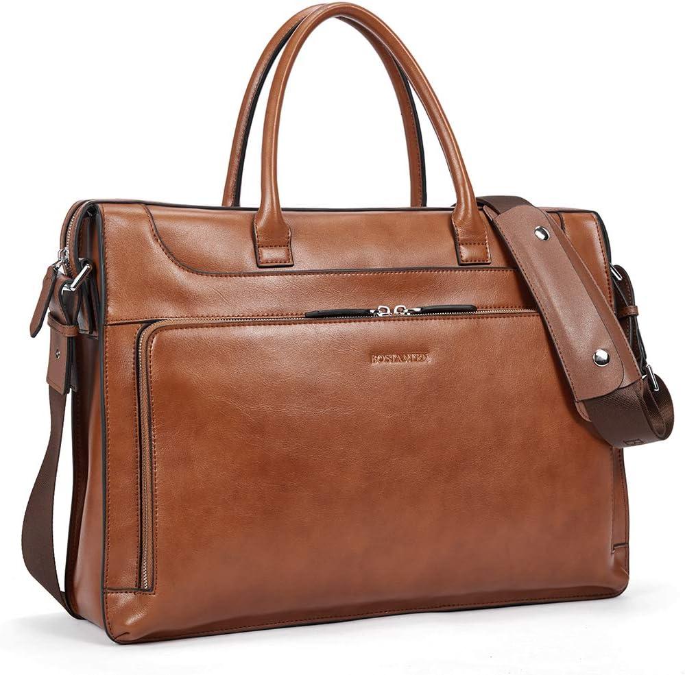 BOSTANTEN Leather Briefcase for Women Vintage Business Messenger Bags 15.6 inch Laptop Shoulder Handbag