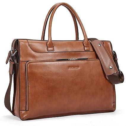 e5e05a49a224 Amazon.com: BOSTANTEN Leather Briefcase Vintage Business Message ...