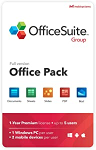 OfficeSuite Group Compatible with Microsoft® Office Word® Excel® & PowerPoint® and Adobe® PDF for PC Windows 10, 8.1, 8, 7 - 1-year license, 5 users