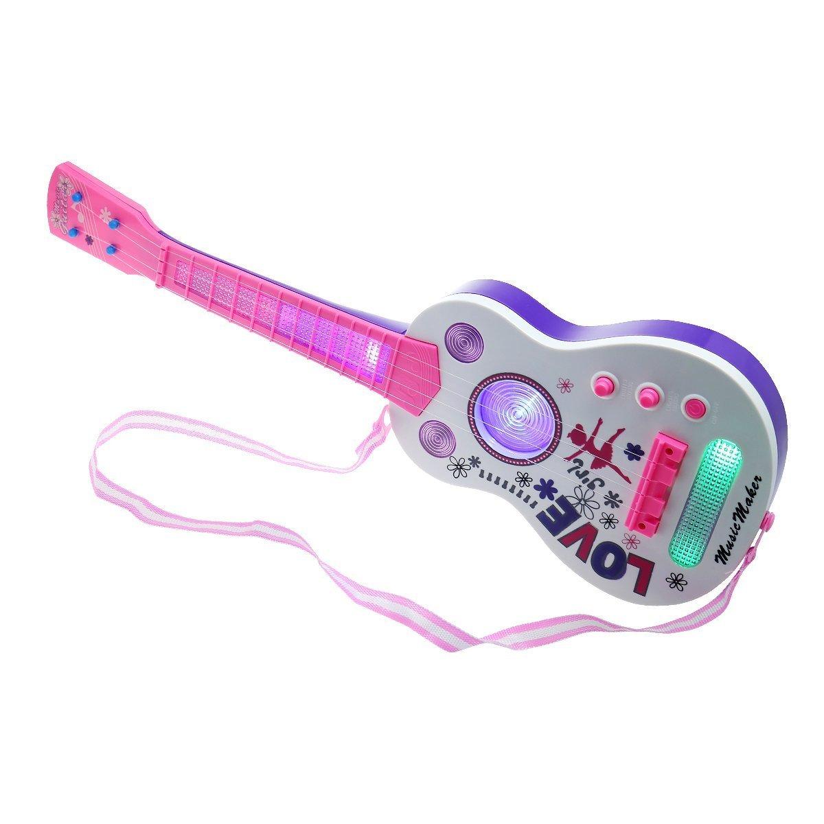 Guitarra eléctrica para niños, aPerfectLife Multi-función Niños Guitarra eléctrica 4 cuerdas Instrumentos musicales Juguete educativo Niños Rock Band Música ...