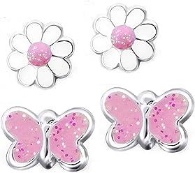 FIVE-D 2 Paar Ohrringe Blume und Pinker Schmetterling Glanz 925 Silber in Geschenkbox