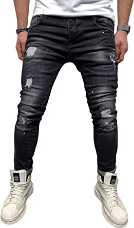 Bmeig Jeans Ajustados Hombre Rotos Pantalones De Mezclilla Elasticos Slim Fit Ripped Desgastados Con Bolsillo Trabajo Hiphop Pantalones De Chandal Cargo Invierno Negro S 4xl Amazon Es Ropa Y Accesorios