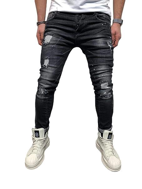 Ausverkauf online zu verkaufen suche nach echtem BMEIG Herren Skinny Jeans Destroyed Ripped Zerrissene Slim Fit Stretch  Distressed Denim Basic Männer Jeanshose Designer Schwarz