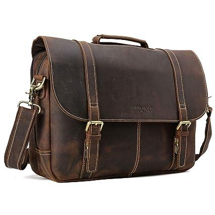 41e28c07a7 Amazon.com  Tiding 15.6 inch Vintage Men s Genuine Leather Messenger Bag  Briefcase Laptop Bag Satchel with Detachable Padded Laptop Sleeve   Computers   ...