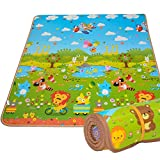 BMyBaby Kids Play Mat Rug by Portable Baby Floor Foam Playmat and Gym with Beautiful Graphics and Adorable Animal Friends - Portable for Outdoor or Indoor Use