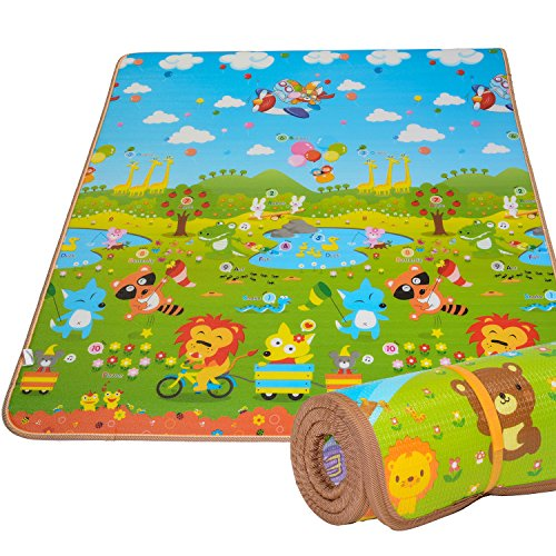 Baby Play Mat Extra Thick 0.8' Rug by BMyBaby - Portable Kids Play Mat and Foam Floor Gym with Beautiful Graphics and Adorable Animal Friends - Portable for Outdoor or Indoor Use