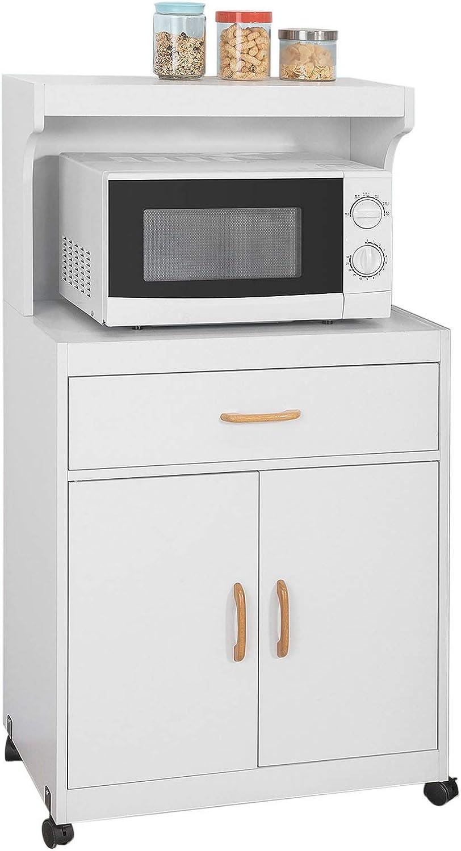 SoBuy FSB12-W,Aparador Auxiliar bajo de Cocina con 2 Puertas y 1 cajón, para microondas,L62 cm x P40 cm x H119 cm,ES