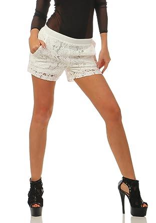 cdf4e963dbaee4 3838 Fashion4Young Damen Hotpants Shorts kurze Hose Spitze Spitzenhotpants  Gummizug (weiß, S)