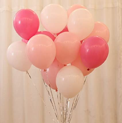 AnnoDeel 50 Pcs 12inch Pink And White Balloons Pearl Latex Light