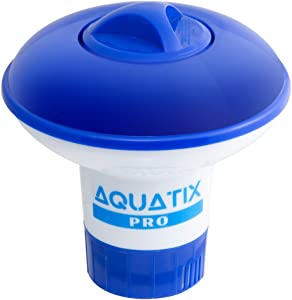 """Aquatix Pro Pool Bromine Dispenser Offers Premium Floating Chlorine Dispenser for Indoor & Outdoor Swimming Pools, Up to 1"""" Bromine Tablet Holder, Also Usable as a Spa Chemical Dispenser (Small)"""