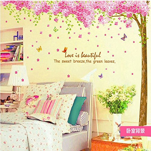 (Amaonm Giant Huge Size Removable Pink Red Romantic Cherry Blossom Tree Wall Decal DIY PVC Butterfly Wall Decorations Art Decor Stickers Murals Wallpaper for Nursery Room Living Room Wall Corner)