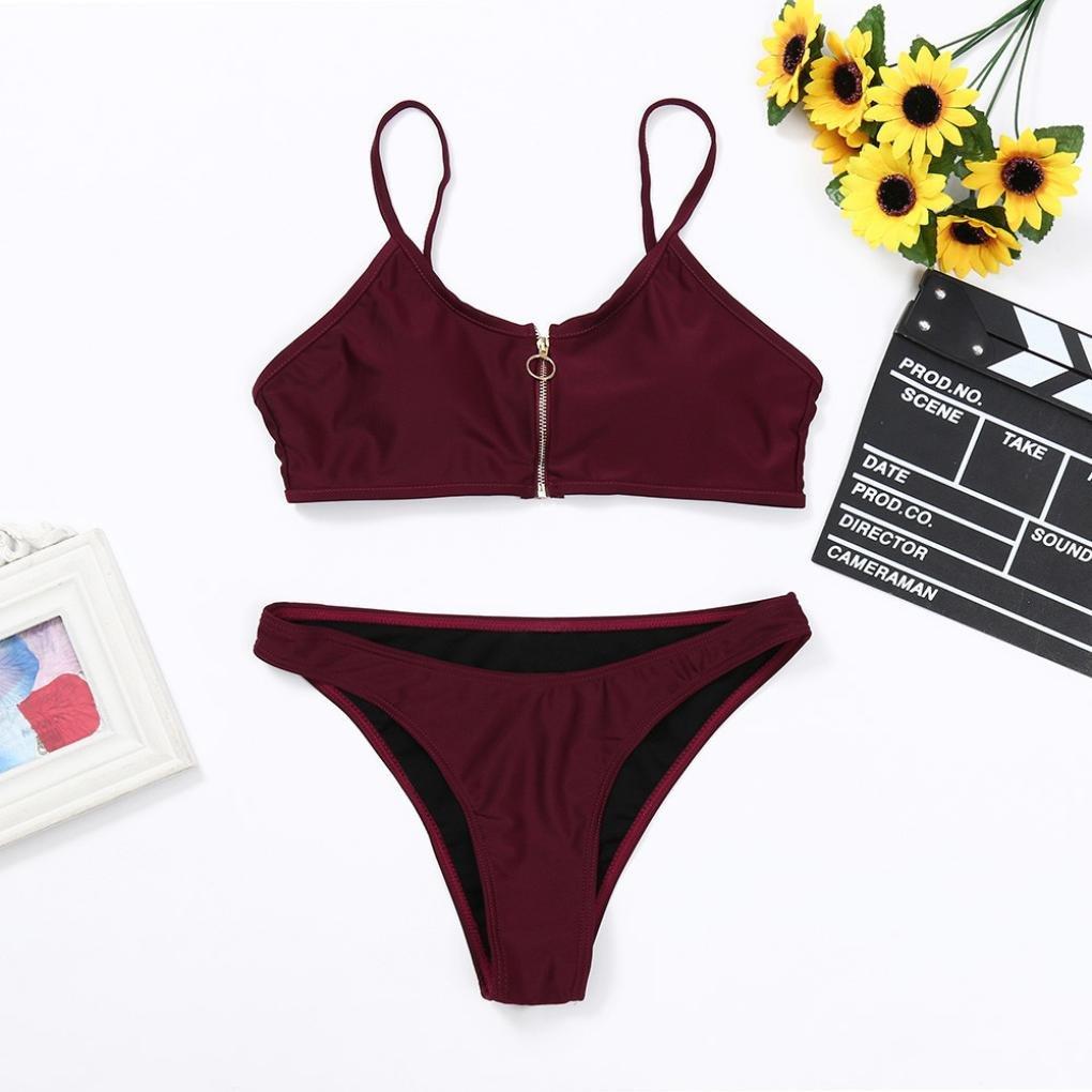 DEELIN Traje De BañO De Mujer Vino Rojo Bikini Set ...