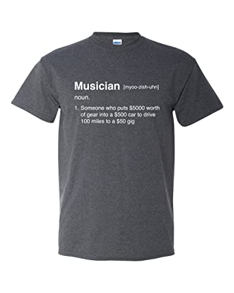 05343967 Musician Definition Funny Gig Band Music Drummer Guitar Bass Humor Men's T- Shirt