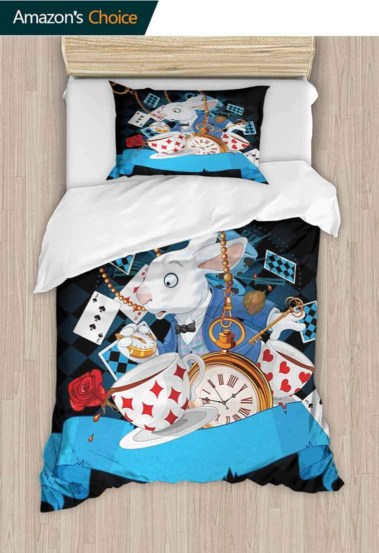 Alice in Wonderland DIY Duvet Cover and Pillowcase Set, Rabbit Motion Cups Hearts and Flower Character Alice Cartoon Style, Bedding Set Cover with 1 Pillow Shams Decorative Quilt Cover Set Multicolor by carmaxshome