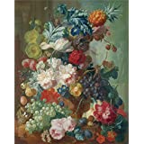 Perfect effect canvas ,the High Definition Art Decorative Canvas Prints of oil painting 'Jan van Os Fruit and Flowers in a Terracotta Vase ', 18 x 23 inch / 46 x 58 cm is best for Basement decor and Home gallery art and Gifts