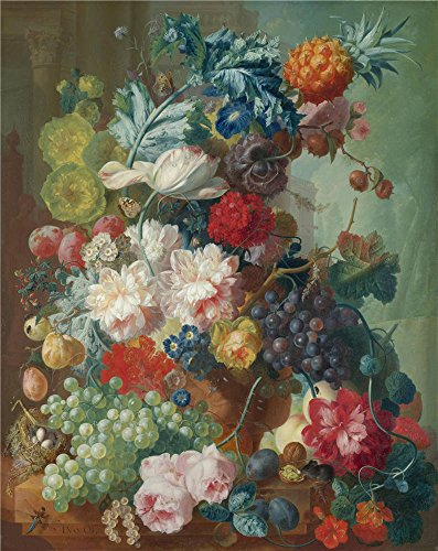 Oil Painting 'Jan Van Os Fruit And Flowers In A Terracotta Vase' 8 x 10 inch / 20 x 26 cm , on High Definition HD canvas prints is for Gifts And Bed Room, Dining Room And Home Office Decoration, sale