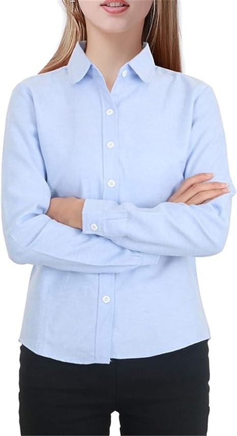 Blusa de Mujer 2019 de algodón de Manga Larga Bl Oxford Color Blanco Blusas Plus tamaño Lady Tops - Azul - Large: Amazon.es: Ropa y accesorios