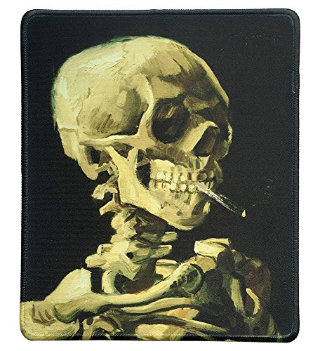 (dealzEpic - Art Mousepad - Natural Rubber Mouse Pad with Famous Painting of Skull of a Skeleton with Burning Cigarette by Vincent van Gogh - Stitched Edges - 9.5x7.9 inches)
