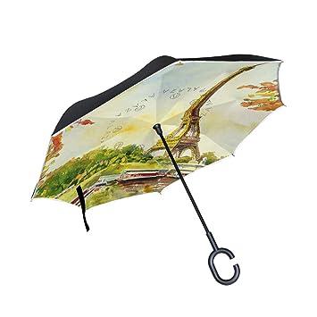 Paris Eiffel - Paraguas invertido de doble capa, diseño vintage de barco de la torre