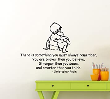 winnie the pooh wall decal christopher robin quote lettering gift
