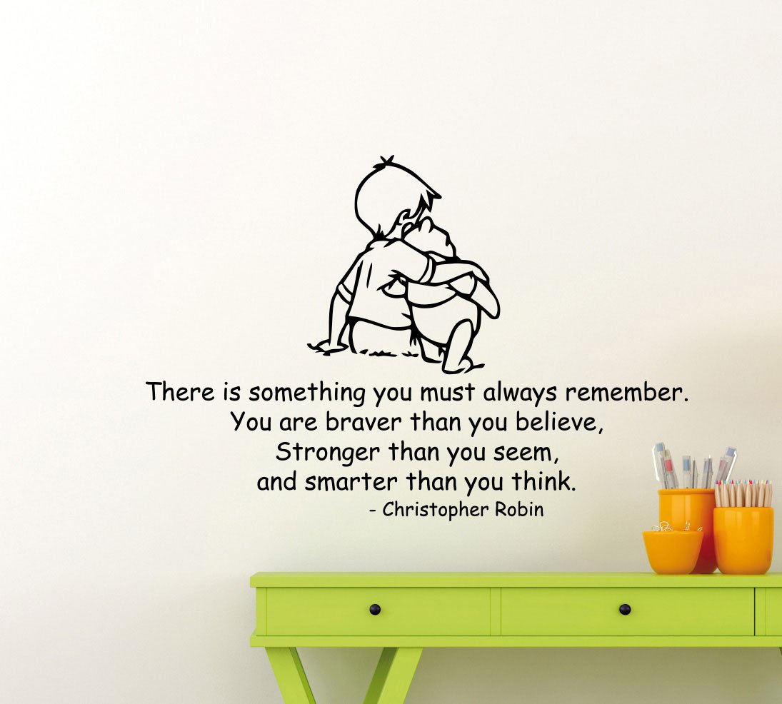 Winnie The Pooh Wall Decal Christopher Robin Quote Lettering Gift Walt Disney Cartoon Vinyl Sticker Home Gift Nursery Playroom Kids Baby Room Art Stencil Decor Mural Removable Poster 127ct