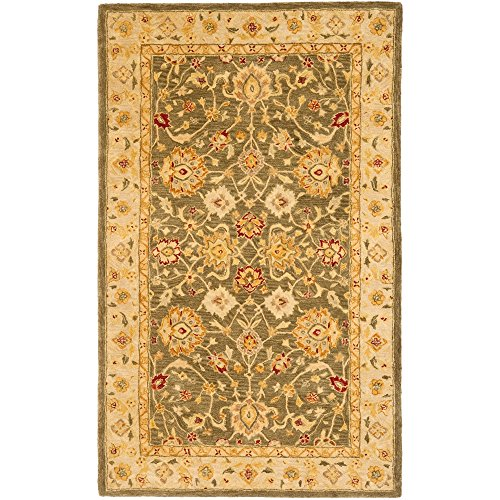 Rectangle Antique Rug Gold (Safavieh Anatolia Collection AN553A Handmade Traditional Oriental Olive Grey and Beige Wool Area Rug (5' x 8'))