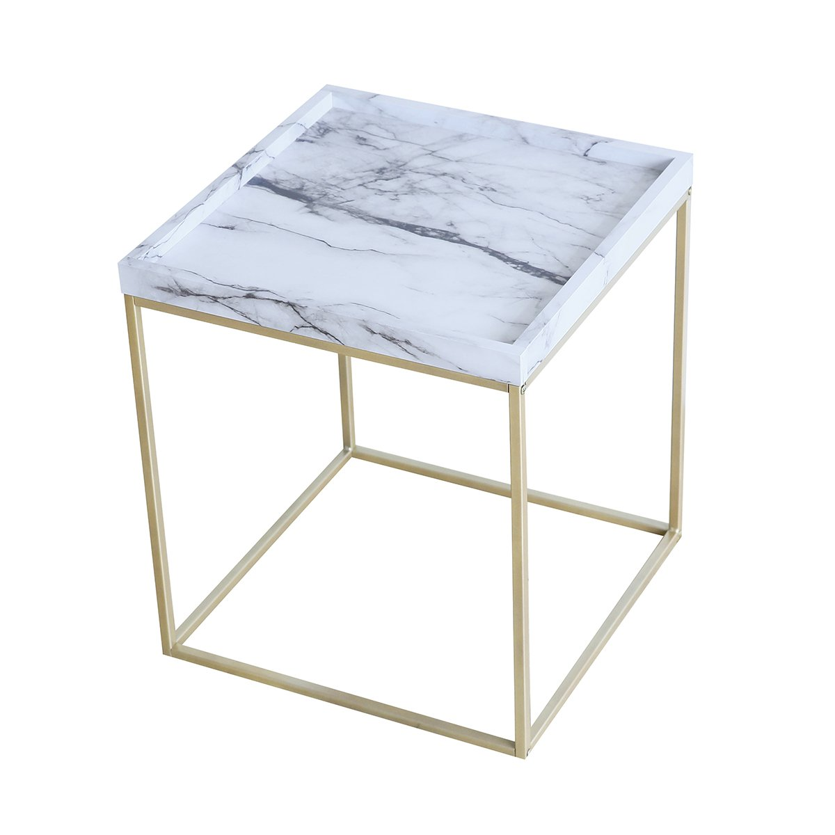 Tilly Lin Modern Accent Faux Marble Top End Table, Gold Legs Side Table, for Living Room, Bed Room, Black Metal Frame, Carrara