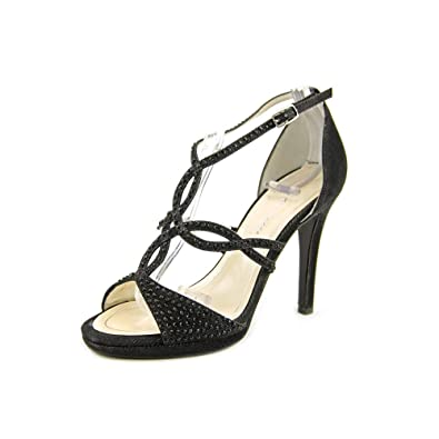 Caparros Womens Nixie Open Toe Special Occasion Ankle Black Shimmer Size 10.0