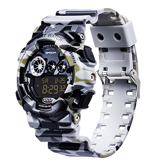 Amazon.com: Goodfeng Digit Electronic Waterproof Military Sports Camouflage Watch for Sanda Cool boy Girl Student Watch (A): Cell Phones & Accessories