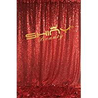 ShinyBeauty Sequin Backdrop 8FTx8FT-Red,Sequin Curtain Photography Decoration Photo Studio Video Background Exclusive Design Wedding PhotoBooth (Red)