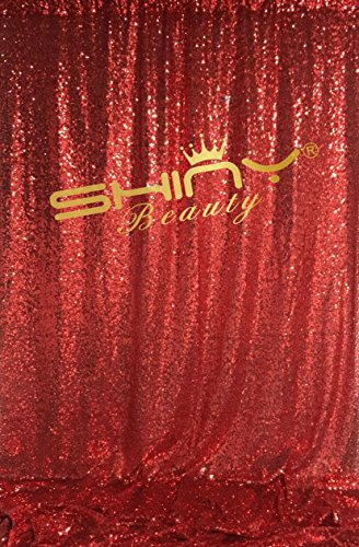 ShinyBeauty Sequin Fabric Curtains, Sparkly 8FTx10FT Red Backdrop Photography Background, Studio Photo Decoration Backdrops by ShinyBeauty