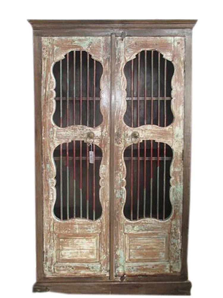 Jali Almirah Iron Bars Doors Cupboard British Colonial Bookcase Armoire Cabinet