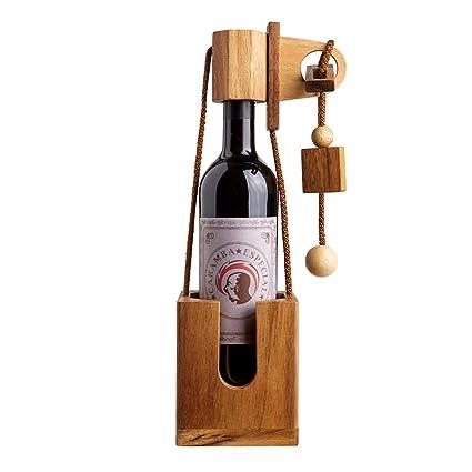 791f57c32 Puzzle botella de madera fina y oscura – Caja regalo para botellas de vino  – Cajas