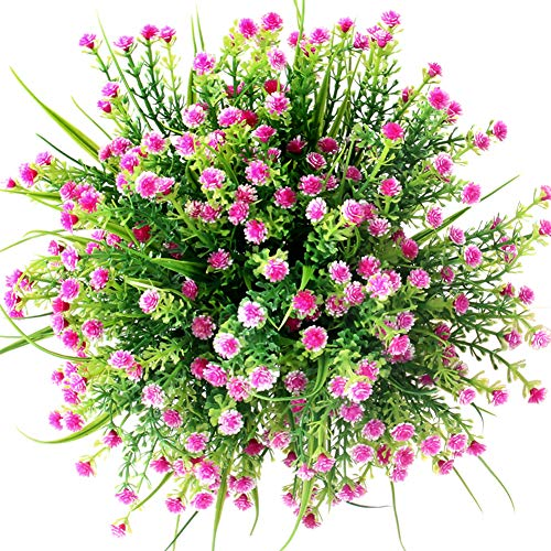 CQURE Artificial Flowers, Fake Flowers Artificial Babys Breath Bridal Wedding Bouquet for Home Garden Party Wedding Decoration 5 Bunches (Purple&Red)