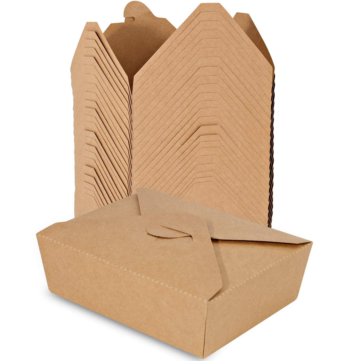 BBG Take Out Food Containers, 45 oz (54 Pack) Disposable Paper Take Out Box, Microwaveable Cardboard Lunch Boxes for Restaurants, Catering and Parties