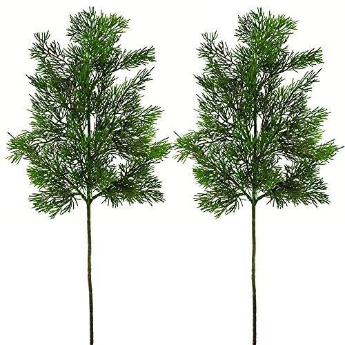 2 Pcs Artificial Cedar Picks Faux Cedar Greenery Spray Branches Christmas Cedar Twig Stems Cedar Sprigs Tabletop Christmas Tree 20 x 7.5-7.9 (LXW) for Holiday Season Winter Farmhouse D