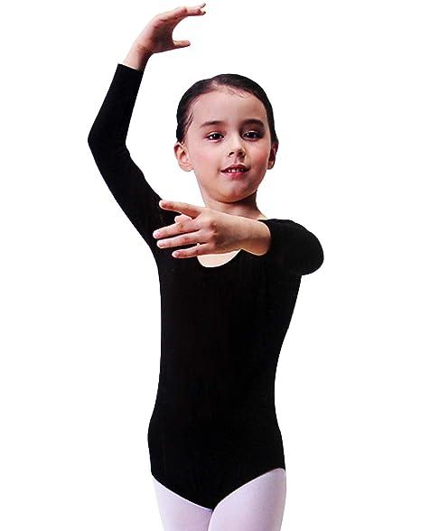 Furein Maillot de Danza Ballet Gimnasia Leotardo Body Clásico Elástico para Niña de Manga Larga Cuello Redondo (12 años, Negro)