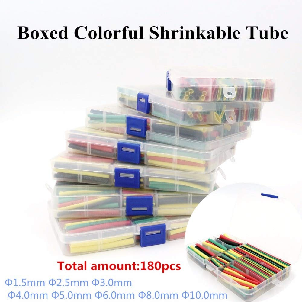 180Pcs 1.5MM 2.5MM 3MM 4MM 5MM 6MM 8MM 10MM Assortment Ratio 2:1 Polyolefin Heat Shrink Tube Tubing Sleeving Wrap Wire Cable Kit ATUTI Cable Sleeves
